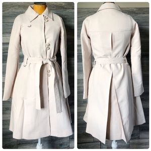 FC Ivory nude wool belted trench coat XS 2